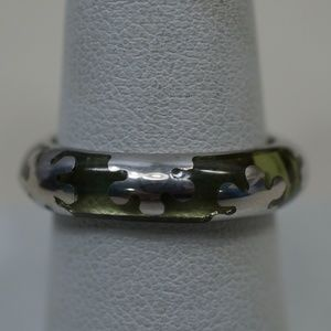 Sterling Silver .925 & Resin Snowflake Design Ring